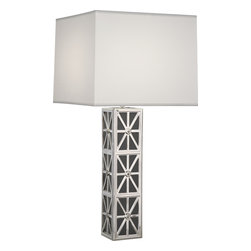 Robert Abbey - Directoire Table Lamp, Silver Plate/Gray Glass - This stunning table lamp combines classic, antique motifs in modern shapes and timeless finishes. The squared column base features an angular silverplated overlay that reveals charcoal gray glass. And it's topped with a squared parchment shade in dazzling white.