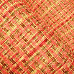 Pretty Plaid Upholstery in Coral - Pretty Plaid Upholstery in Coral. Coral Plaid Fabric blending pinks, greens and coral hues coupled with the soft chenille feel to give this fabric a competitive edge.  A textured fabric, perfect for sofa or chair re-upholstery projects, that is interior designer quality and offered at a great price.