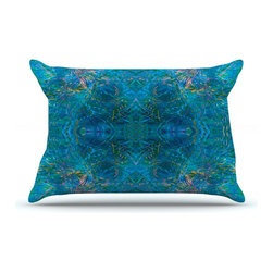 """Kess InHouse - Nikposium """"Clearwater"""" Blue Teal Pillow Case, King (36"""" x 20"""") - This pillowcase, is just as bunny soft as the Kess InHouse duvet. It's made of microfiber velvety fleece. This machine washable fleece pillow case is the perfect accent to any duvet. Be your Bed's Curator."""