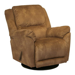 Catnapper - Catnapper Maverick Chaise Microsuede Swivel Glider Recliner - 9962 - Shop for Recliners from Hayneedle.com! Kick back and relax with the smooth motion of the Catnapper Maverick Chaise Microsuede Swivel Glider Recliner. Durably built this recliner features a swivel glider on a steel base that allows gentle forward gliding or swivel as you please with full 360-degree rotation capability. Pull back on the smooth quiet Omega reclining system handle to recline the entire chair. Thick padding with medium-soft cushioning provides supportive comfort. Accented by detailed stitching this recliner is covered in microsuede upholstery in a warm shade of saddle. Resilient and easy to clean microsuede resists wrinkling and pilling and doesn't absorb liquids easily. This recliner is constructed with quality eight-gauge sinuous steel springs for superior support and comfort in the seating system. It features a 100 percent steel seat box that resists warping and splitting. A Direct Drive crossbar ensures both sides of the chair operate together in sequence for longer life. The wall hugger design allows you to place the recliner within inches of the wall allowing greater flexibility in your space. Additional Features: Medium cushion softness Smooth and easy glider function 100% steel seat box means no warping or splitting Direct Drive crossbar ensures both sides of chair operate together in sequence Heavy 8-gauge sinuous steel springs in the seat for strength and flexibility Solid hardwoods are used at all stress points to ensure durability Omega reclining mechanism provides smooth quiet reclining Space-saving wall hugger style fully reclines within inches of the wall Seat dimensions: 18 x 22 inches About Jackson Furniture (Catnapper creators)Started in 1932 Jackson Furniture has grown to be one of the largest family-owned living room furniture manufacturers in the world. Today Jackson Furniture Industries has a reclining furniture brand (Catnapper) and a mid-priced living