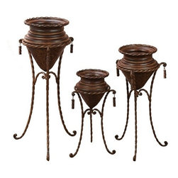 "Benzara - Set of 3 Terrace Rustic Brown Metal Planters with Stands - Set of 3 Terrace Rustic Brown Metal Planters with Stands. Brown tone planter sets are done in metal material. Dimension: Tall 40"" H x 19"" L x 12"" W, Medium 32""H x 16"" H x 9"" W and Small 25"" H x 14"" H x 8"" W."
