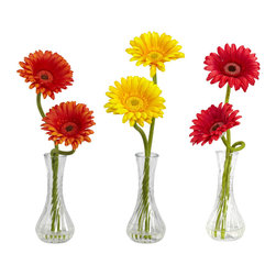 Nearly Natural - Nearly Natural Gerber Daisy w/Bud Vase (Set of 3) - Red/Orange/Yellow - Take one look at this beautiful Gerber daisy, and you can't help but bask in the perfection of Mother Nature. It's not just the perfect green stems climbing high as they (sometimes) curve and twist, It's not the delicate petals on the bloom, nor is it the exquisite flower center - It's the way all of these things work together. Just look at it again… nature is perfect indeed. Comes in a bulb vase w/ liquid illusion.