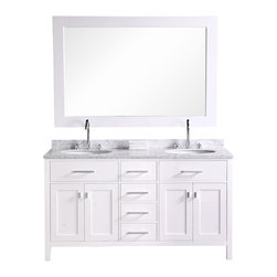 "Design Element - Design Element London 61"" Modern Double Sink Vanity Set - White - The 61"" London Double Vanity is elegantly constructed of solid hardwood. The white Carrara Marble counter tops classic beauty and contemporary styled cabinetry bring a crisp clean look to any bathroom. Seated at the base of the double ceramic sinks are chrome finished pop up drains designed for easy one touch draining. A large matching framed mirror is included. This beautiful vanity has ample storage which includes two large flip-down shelves, four center drawers, and two soft closing cabinets accented with satin nickel hardware."