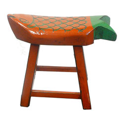 Golden Lotus - Eclectic Orange Green Color Fish Wooden Stool - This is a wooden stool made into fish shape seat top and painted with  orange & green lacquer color.