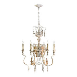 Cyan Design - Cyan Design Motivo Traditional 6-Light Chandelier X-07140 - Showcasing a remarkable stature with adorable metal crafted leaf accents, this captivating chandelier presents a distinctive scroll frame with wrought iron and Persian white finish. With glass ornaments that gracefully hang, the chandelier provides the room with European sophistication and elegance. It illuminates the room with warm shiny glow that creates a charming atmosphere.
