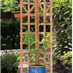 """Fifthroom - Red Cedar Art Deco Freestanding Trellis - This 70"""" tall trellis will add a touch of flair to your entry way, porch, deck or patio area.  It unfolds to a 90 degree angle and provides ample support for vines or climbing plants.  Add a decoration of your choice to the base to complete the look."""