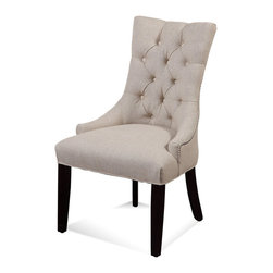 Bassett Mirror Company - Bassett Mirror DPCH15-739 Natural Linen Parson Chair - Clear Back [Set of 2] - Tufted Nailhead Parson Chair belongs to Borghese Collection by Bassett Mirror Company Bassett Mirror is fluent in this art, showing a terrific contemporary furniture that will satisfy on the one hand fans of home coziness, and on the other hand - seekers of non-standard design solutions also. One of the many strengths of the Bassett Mirror is using high quality materials for perfect embodiment of brilliant design ideas. Parsons Chair (2)