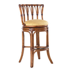 Lexington - Lexington Island Estate South Beach Swivel Bar Stool 531-816-01 - Features bent rattan with leather bindings, swivel seat and kick plate. Upholstery fabric is Macadamia, a basket weave pattern in a golden sand coloration.