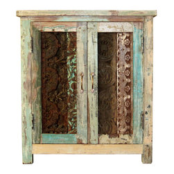 Kosas Collections - Vintage Carved Cabinet - This beautiful cabinet is constructed of reclaimed wood for a rustic look that will bring character and charm to any room. With two doors,this cabinet brings plenty storage room and good looks.