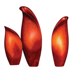 Howard Elliott - Howard Elliott 22007 Lacquered Bright Brushed Red Medium Vase (Wood) - Medium Scarlet Lily Vase by Howard Elliott This medium sized wooden vase is characterized by its resemblance to a budding lily flower. It is finished in a bright brushed red lacquer. Vase (1)