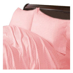 Hothaat - 600TC Stripe Pink Twin XL Fitted Sheet & 2 Pillowcases - Redefine your everyday elegance with these luxuriously super soft Fitted Sheet. This is 100% Egyptian Cotton Superior quality Fitted Sheet that are truly worthy of a classy and elegant look.