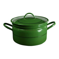 """EuroLux Home - Consigned Vintage French Enamelware, Gold, Green, 13.25"""" X 9.5"""" X 7.5"""" - Product Details"""