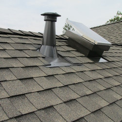 Sun Glo on your roof - 20 watt Vortex solar attic fan on a composition roof.