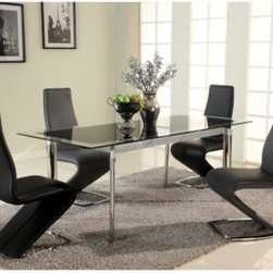 Chintaly Tara 5 Piece Dining Table Set - The accommodating design and modern appeal of the Chintaly Tara 5 Piece Dining Table Setmake it a perfect addition to your home. The extendable table features a sleek metal base and glass top. The unique chairs are upholstered in black, white, or gray.About Chintaly ImportsBased in Farmingdale, New York, Chintaly Imports has been supplying the furniture industry with quality products since 1997. From its humble beginning with a small assortment of casual dining tables and chairs, Chintaly Imports has grown to become a full-range supplier of curios, computer desks, accent pieces, occasional table, barstools, pub sets, upholstery groups and bedroom sets. This assortment of products includes many high-styled contemporary and traditionally-styled items. Chintaly Imports takes pride in the fact that many of its products offer the innovative look, style, and quality which are offered with other suppliers at much higher prices. Currently, Chintaly Imports products appeal to a broad customer base which encompasses many single store operations along with numerous top 100 dealers. Chintaly Imports showrooms are located in High Point, North Carolina and Las Vegas, Nevada.
