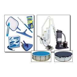 Blue Wave - Blue Wave Supreme Round Cartridge Equipment Package - 30 ft Large - Supreme cartridge filter equipment package our supreme cartridge pool equipment packages provide what you need to get swimming and maintain your pool, plus some major upgrades! supreme packages upgrade to our easy step entry system _ a full in-pool step and outside ladder are included and accommodate deck or non-deck pool applications. Step up to the supreme package and add a Dirtblaster automatic cleaner, Arctic Armor winter pool cover, and a solar pool cover. Features hydro cartridge filter system. Available with 90 sq. Ft. Hydro cartridge filter system with 1-hp pump for pools up to 24� round/12�X24� oval. Available with 120 sq. Ft. Hydro cartridge filter system w / 1-1/2 hp pump for pools larger than 24' round/12�X24� oval. Easy step entry system _ in-pool step and outside ladder. Maintenance kit: 3-piece telepole, leaf skimmer, thermometer, vac hose, vinyl liner vacuum head, nylon wall brush and test strips. Dirtblaster automatic cleaner. 8-year Arctic Armor winter cover. Solar pool cover