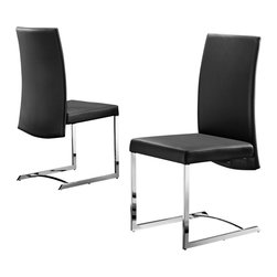 Creative Furniture - Fabio Black Eco-Leather Dining Chair (Set of 4) - The set contains 4 dining chairs. Each of them features durable construction, chromed steel legs, curved backrest, and black Eco-leather upholstery.