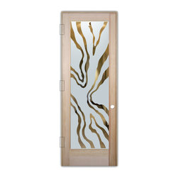 "Sans Soucie Art Glass (door frame material T.M. Cobb) - Interior Glass Door Sans Soucie Art Glass Abstract Liquid III - Sans Soucie Art Glass Interior Door with Sandblast Etched Glass Design. GET THE PRIVACY YOU NEED WITHOUT BLOCKING LIGHT, thru beautiful works of etched glass art by Sans Soucie!  THIS GLASS IS SEMI-PRIVATE.  (Photo is View from OUTside the room.)  Door material will be unfinished, ready for paint or stain.  Satin Nickel Hinges. Available in other wood species, hinge finishes and sizes!  As book door or prehung, or even glass only!  1/8"" thick Tempered Safety Glass.  Cleaning is the same as regular clear glass. Use glass cleaner and a soft cloth."