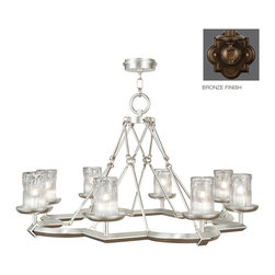 Fine Art Lamps - Liaison Bronze Chandelier, 860340ST - Lavish your space with a symphony of light. Here, the unfussy finery of bold, hand-crafted metal hoists chic glass shades — a true conversation piece for your favorite room.