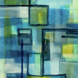 Victoria Kloch - Mind Travel', Blue, Gray, Aqua and Yellow, Large Watercolor by Victoria Kloch - Title: Mind Travel - Original large abstract Watercolor