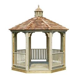 Fifthroom - Economy Treated Pine Octagon Gazebo - This beautifully designed but economical gazebo is a great choice for our budget-minded clients. Fashioned of Southern yellow pine, treated to prevent decay and insect damage, and kiln-dried both before and after treatment to enhance durability and appearance.