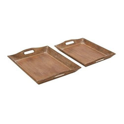 """Benzara - Set of 2 Wood Tray with Rich Brown Finish - Set of 2 Wood Tray with Rich Brown Finish. Tray set has a weathered accent for an old-world charm. It comes with the following dimensions 18"""" W x 14"""" D x 3"""" H. 17"""" W x 12"""" D x 2"""" H."""