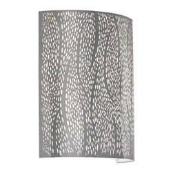 LBL Lighting - Rami -  LED Wall Sconce   LBL - LBL Lighting Rami LED Wall Sconce features a�metal base with acid etched metal shade backed with an acrylic diffuser.Mounts vertically only. Design: Artistic interpretation of nature's grasses in breeze. � Manufacturer:�LBL LightingSize:�10 in. length x 11 in. height x 4.3 in. wall projection Light Source:� CFL: 1 x 18 watt 120V or 277V GX24Q-2 base triple tube compact fluorescent lamp - included LED: 1 x 10 watt 120V or 277V [600 lumen 2700K 80 CRI] LED module - included Certifications: ETL Location:�Dry Dimmable�LED version with low-voltage electronic dimmer or universal dimmer - not included