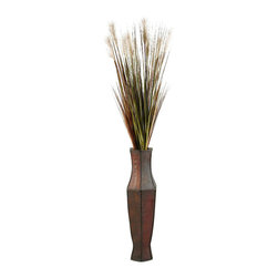 D&W Silks - D&W Silks Tall Onion Grass In Tall Wooden Vase - A tall, slim floor plant with great color and style, this onion grass piece ships to you assembled as seen in a tall brown wooden vase.  Use this item to accent furniture or to stand by itself for added charm in your design space.  This piece ships to you assembled as pictured, and will maintain it's color and form without care for many years to come.