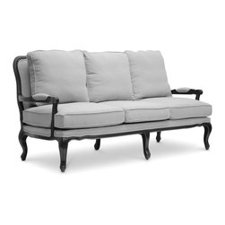 "Baxton Studio - Baxton Studio Antoinette Classic Antiqued French Sofa - Relax in the lap of luxury. The Antoinette French Sofa has all the fixings of exquisite old-world French detail: scalloped and scrolled wood trim, padded armrests, and distressed wood, complete with the finish rubbed off on the edges. A black oak frame flanks comfortable foam cushions (removable) encased in neutral gray-beige linen upholstery.  We recommend exclusively spot cleaning this elegant sofa. The Antoinette Designer Sofa is made in China and is fully assembled. Look for the matching Antoinette Chair and Loveseat to complete your collection (each sold separately).76.25""W x 33.25""D x 40.125""H , seat dimension:71.625""W x 29""D x 20.5""H arm height: 24.5 inches"