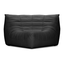 ZUO MODERN - Carnival Corner Chair Black - Like curling up in someone's arms, the Carnival sectional set is wrapped in a soft leatherette, padded and tufted in all the right ways. Comes in espresso, black and white.