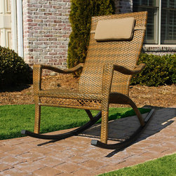 None - Tortuga Maracay Wicker Outdoor Rocking Chair - A unique and stylish oversized rocking chair,the Maracay Rocking Chair features a 22.5-inch inside width and holds up to 350 pounds.