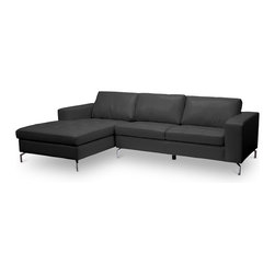 Baxton Studio - Baxton Studio Lazenby Black Leather Modern Sectional Sofa - Our Lazenby Sectional Sofa is an urban gem: with sleek lines and versatile simplicity, it's an instant winner in our book. The Lazenby Designer Sofa is made in China with a sturdy solid Dahurian Larch wood frame. S-springs and pocket springs underneath polyurethane foam provide comfort while black bonded leather and chrome-plated steel legs give the contemporary sectional sofa an unmistakable urban appeal. Maintenance is fast and simple: simply wipe the surfaces with a damp cloth before using a dry cloth to wipe away any remaining moisture. The Lazenby Sectional is also available in cream leather or as a 2-piece sofa set (each sold separately). Minor Assembly is required