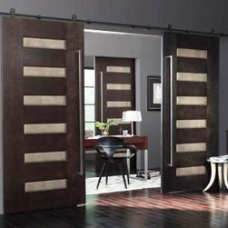 Interior Contemporary Barn Style Doors - These doors are constructed of walnut with premium leather inserts.  They are hung on contemporary barn door hardware and make a true statement piece.