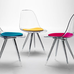 Angel Chair by Kubikoff - With a most appealing look, the Angel Chair is transparently beautiful in its crystal clear version, but also comes in lots of solid colors. Consider white, black or a brilliant hue like lime or red. It's lovely curved shell sets atop slender (but sturdy) tapered legs.