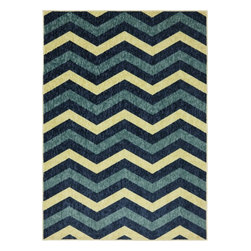 Mohawk Home - Woodgrain Simple Zig Royal Novelty Chevron 5' x 7' Mohawk Rug (11714) - This design is a zig zag stripe in vibrant blue, a great trendy design to pair with bold vibrant style.Action Backing