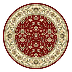 "Safavieh - Traditional Lyndhurst Round 5'3"" Round Red - Ivory Area Rug - The Lyndhurst area rug Collection offers an affordable assortment of Traditional stylings. Lyndhurst features a blend of natural Red - Ivory color. Machine Made of Polypropylene the Lyndhurst Collection is an intriguing compliment to any decor."