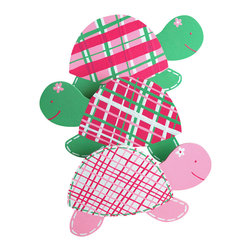 "Little Elephant Company - Pink Madras Turtle Quilt Clips set of 3 - Beautiful quilt clips that transform your treasured baby quilts and comforters into charming hanging artwork for your child's room.    Very easy to use.  ***    This listing is a set of three (3) beautifully detailed hand painted turtle quilt clips.     Two of the girly turtles are meadow green with pink, fuschia, white and green plaid shells, and the third turtle is light pink with white, pink, fuschia and green plaid shell. Two of the turtles will face to the right, and one will face to the left.     These quilt clips are perfect for girl forest and garden themed bedding sets.    Each turtle measures 5 in. across.    How many quilt clips do I need?  - For a quilt that is still stiff and new, you will only need 2 quilt clips for up to 36 inches wide. Many people will do 3 quilt clips just for the look, though. For a quilt that has been washed and is pliable, 2 clips will be sufficient for up to 36 inches, but you may want 3 clips to help keep the center from sagging. For a quilt 36 to 42 inches wide, use 3 to 4 clips. For a quilt 42 to 50 inches, use 4 to 5 clips.    How do the quilt clips work?  - The only hardware is needed is a long nail, approximately 1 1/2"" to 2 1/2"" in length.  - Measure how far apart you would like the clips to be.  - Decide how high on the wall they will be placed and mark your first spot. Using a level, measure out and mark the second spot.  - Place your nails into the wall at a 45 degree angle. IMPORTANT: If your nail is not at a 45 degree angle, the clip may slip off the nail.  - Clip the quilt and slide the back of the clip over the nail.    What are the clips made of?  - Designs are made of layered wood. A few of our designs also have layered felt.   - Clips on the back are a sturdy plastic so as not to damage your fabric."