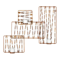 """Safavieh - Geometric Votive Wall Sconce - Bold modernity defines this metallic wall sconce's captivating design. Twisted iron pieces form an abstract geometric light fixture with spaces for votive candles. 23.2""""W x 3.54""""D x 20.5""""H; Wrought iron; Copper finish; Three glass candleholders (candles not included)"""