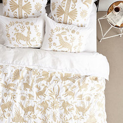 Luisa Embroidered Duvet - This Otomi-inspired bedding from Anthropologie is what I dream of draping my bed in this summer. The pale beige print on a white background is simple and charming.