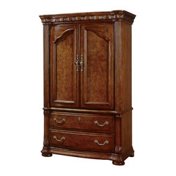 Wynwood - Wynwood Cordoba Entertainment Armoire in Burnished Pine - This Cordoba Entertainment Armoire reflects a rich, detailed design from  continental European trends and features generous scaling proportions.   The entertainment armoire features breakaway pilaster doors which add  interest and detail to the piece, while also enabling the doors to be  opened 270 degrees, making the piece most functional.  The armoire  includes one tray drawer, a sliding back panel, and a cable ready  harness with electrical outlet.