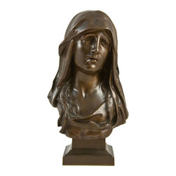 n/a - Consigned Bronze Sculpture Bust of Mary Magdalen by Eugene Marioton - Impressive antique, circa 1910, French bronze veiled bust of Mary Magdalen after Eugene Marioton (1854-1933); signed E.Marioton on the right hand side and numbered on the back. Product Details