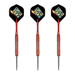 Skinny's™ Hammer Head® 90% Tungsten Convertible Tip Darts- Red - Play soft or steel with Skinny's™ Convertibles™ Darts! Convertible darts are compatible with both electronic soft tip dartboards and steel tip bristle dartboards. This dart is now equipped with O-RINGS to ensure securely locked points, and features a Tough Koat™ finish over a colorful coarse knurled barrel, promoting consistency and durability. The Skinny's™ Convertible™ 90% Tungsten Darts offer shooters the best of both games, allowing you to play steel or soft tip while retaining the consistency of feel and control. Just change the point and play!