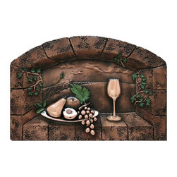Design Tuscany - Fruit Delight Backsplash /Mural Copper - Beautiful Tuscan design mural for kitchens, a backsplash with Italian style. All our electroplating backsplashes are made with real premium metals and special polymers. Each backsplash comes from an original hand-carved design. They are protected with a durable clear-coat that protects the metal surface from abrasion and oxidation.
