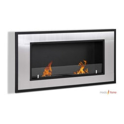 Moda Flame Lugo Wall Mount Fireplace - The Moda Flame Lugo Wall Mount Fireplace adds modern design and warmth to your home. Its majestic steel outer frame and two dual layer burners set the stage for a vivid showcase of flames. The glass strip is a sparkling protective barrier against the powerful 12000 BTU ethanol fuel. It mounts to your wall to save space and create visual impact.About Moda FlameModern comfort, modern style, modern flame. Moda Flame is an innovative concept in home heating and indoor fireplaces. Their bio ethanol-burning fireplaces are eco-friendly and beautiful. This line of modern fireplace designs requires no venting, gas lines, plug-ins, or outlets. Yet provide more heat production, less waste, and no environmental impact.