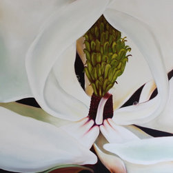 Magnolia Flower, Original Oil Painting on Canvas - Original oil painting on canvas.One of two complimentary pieces. Professionally framed with white wood lacquered frame. Painting is  clear coated in satin oil varnish for extra protection. Colors are vibrant, white, gray, aqua, apple green, magenta, black,brown. This artwork can fit into a traditional, or contemporary/modern setting.