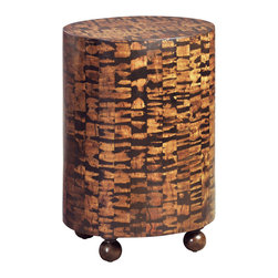 Ambella Home - Tiger Oval Accent Table - Intricate pattern of laminated coco bark on an oval shaped mahogany and polymer frame.  Imported.