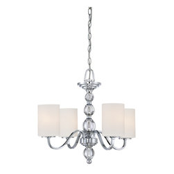 Quoizel - Quoizel DW5004C Downtown Chandelier - Cool, sleek sophistication is written all over this design.  Gleaming glass ball accents complement the opal etched glass drum shade and shiny chrome finish, bringing a soft modern sensibility to your home.