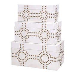Imax - Graphic White Studded Essentials Celebrations Trunks - Set of 3 - *Designer Connie Post addresses the most challenging decorating issue of our day, lack of adequate storage, with a set of glamorous, leather-look trunks bejeweled with gold studs arranged in a modern, graphic pattern. Set of three.