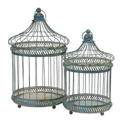 Lizzy Bird Cages - Set of 2 - The set of two Lizzy Bird Cages have a versatile style and a multitude of uses. Fill with moss covered topiary balls, or faux florals. Change the decor for each of the seasons and holidays or add a different style depending on the room you display them!