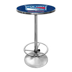 Trademark Global - Round Pub Table w NHL New York Rangers Logo T - The bold red, blue and white color palette of the New York Rangers team logo is striking under a protective clear acrylic top, making this pub table a colorful and stylish addition to any bar area or game room decor. The table has a chrome colored steel base with a round foot rest and would make a great gift idea for any sports fan. Great for gifts and recreation decor. 0.125 in. Scratch resistant UV protective acrylic top. Full color printed logo is protected by the acrylic top. Table top is trimmed with chrome plated banding. 1 in. Thick solid wood table top. Chrome base with foot rest and adjustable levelers. 28 in. L x 28 in. W x 42 in. H (72 lbs.)This National Hockey League officially licensed pub table is the perfect for your game room on Hockey Night.