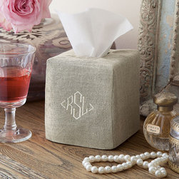 Provence Linen Tissue Box Cover - It is little luxuries in life like our linen tissue box covers that transform everyday items into objects of beauty. Sized to fit over standard tissue boxes, the square cover can be personalized with an ivory diamond monogram.